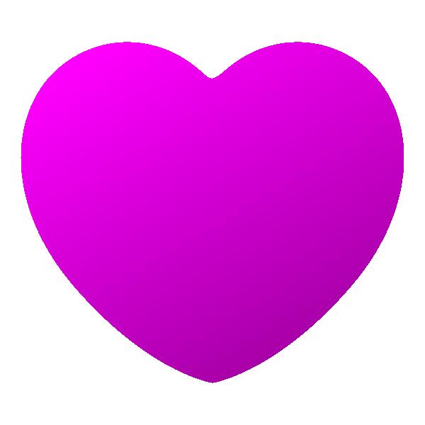 少し立体感のあるビビッドピンクの丸みのあるハート Embossed vivid pink rounded heart symbol