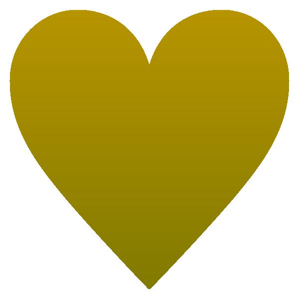 少し立体感のあるゴールドのハート Embossed vivid gold rounded heart symbol