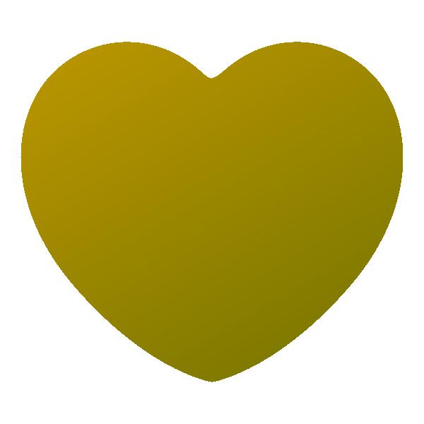 少し立体感のあるゴールドの丸みのあるハート Embossed gold round heart symbol