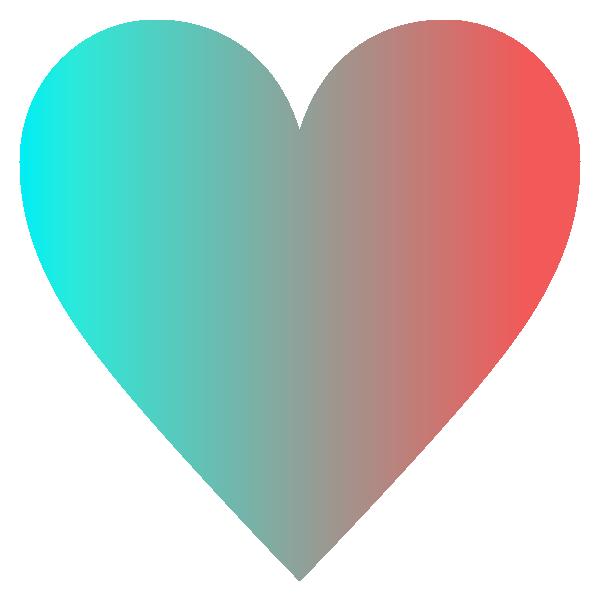 スタイリッシュなグラデーションカラーのハート Stylish gradient color heart symbol