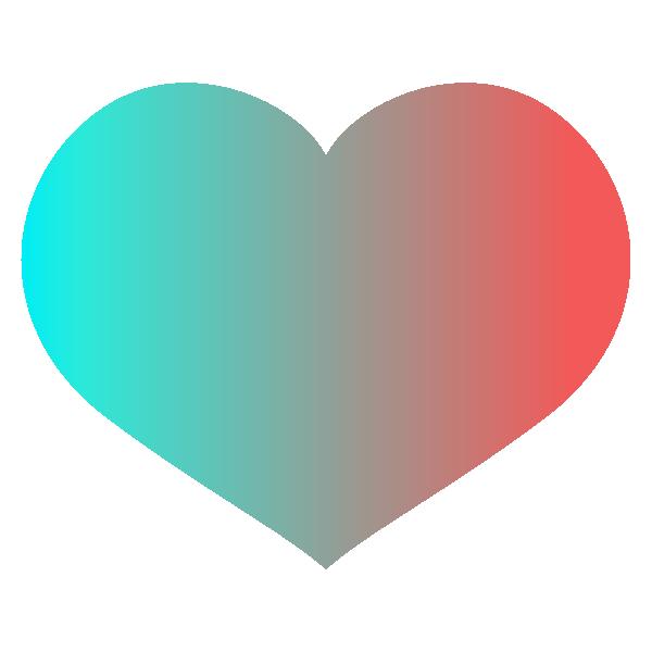 スタイリッシュなグラデーションカラーの横長のあるハート Stylish gradient color wide heart symbol