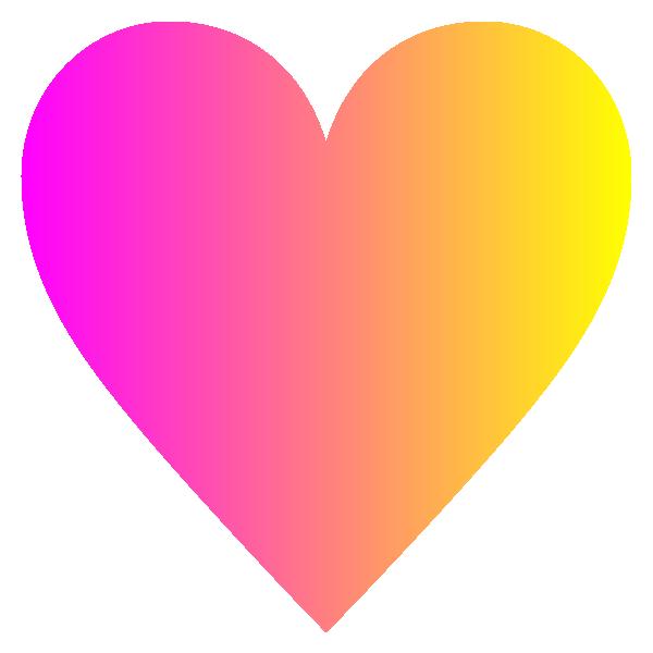 「ピンクとイエローのグラデーション」のハート Hot pink and yellow gradient heart symbol