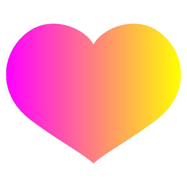 「ピンクとイエローのグラデーション」の横長のハート Hot pink and yellow gradient wide heart symbol