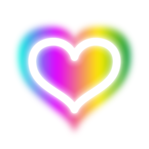 虹色に発光するラインのハート Heart of lines that neon emit rainbow colors