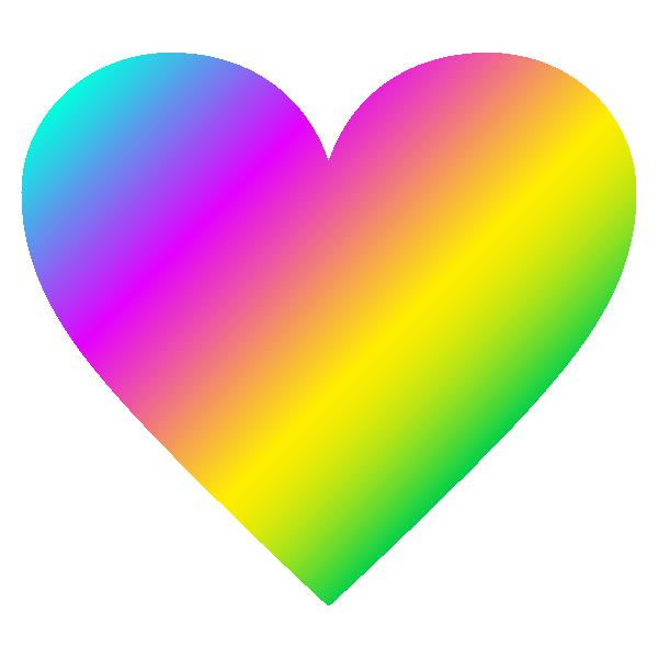 レインボー(虹色)のハート Rainbow heart