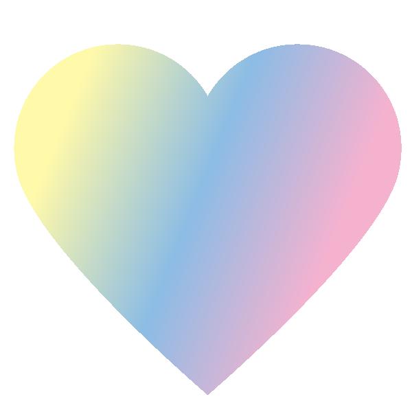 パステルカラーのグラデーションのハート Pastel color gradient heart