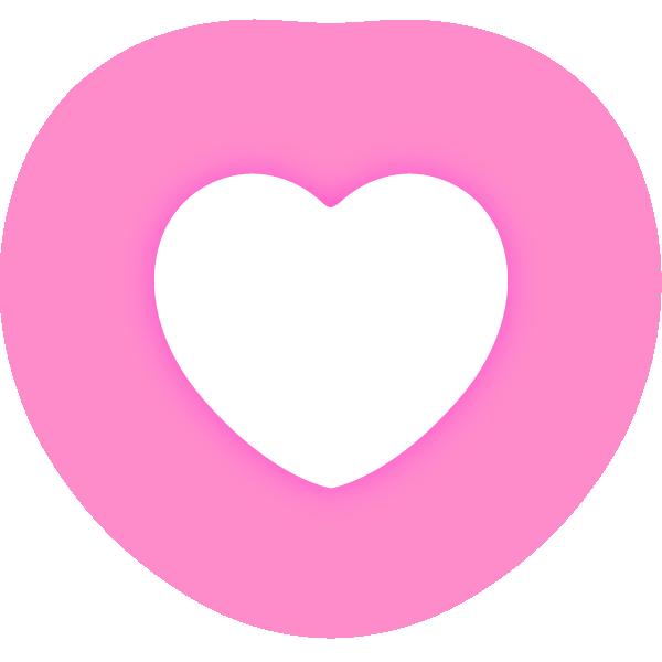 丸みのあるハート(発光ピンク) Rounded heart (neon luminous pink)