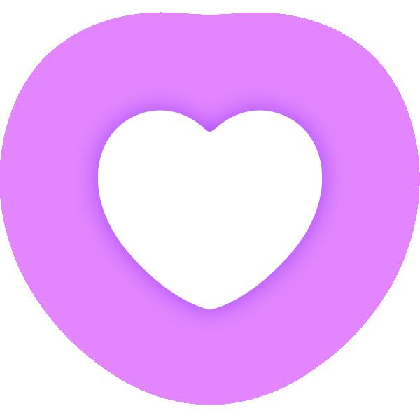 丸みのあるハート(発光パープル(紫)) Rounded heart (neon emission purple)