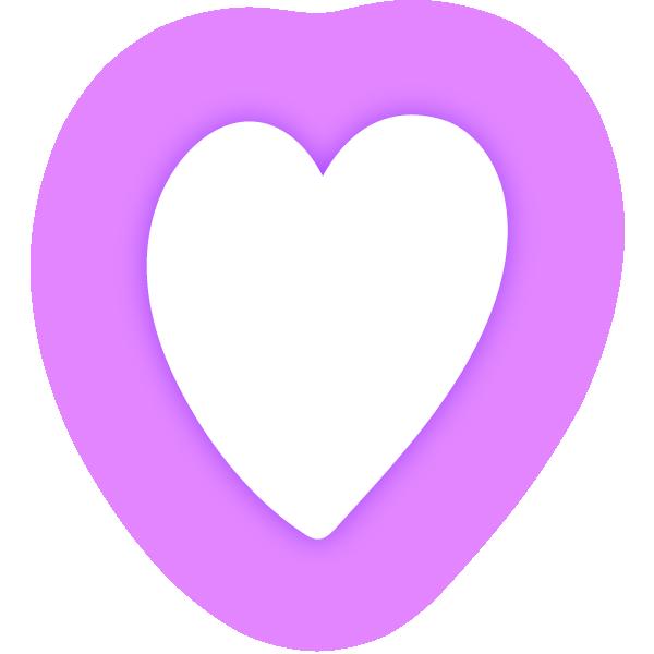 縦長のハート(発光パープル(紫)) Vertical heart (neon emission purple)