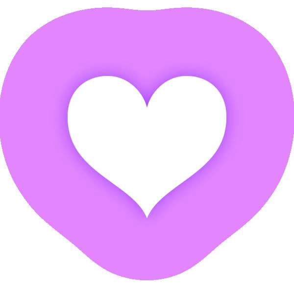 くびれのあるハート(発光パープル(紫)) Constricted heart(neon emission purple)