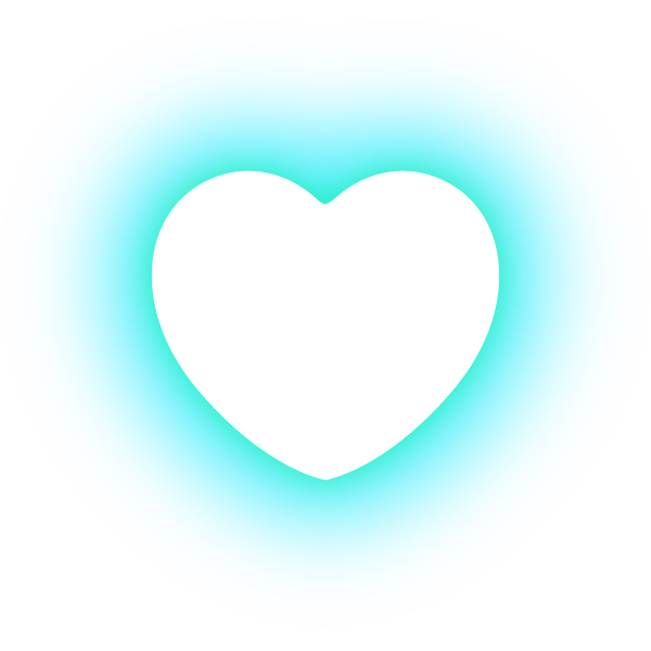丸みのあるハート(発光パステルブルー(水色)) Rounded heart (neon luminous pastel blue (light blue))
