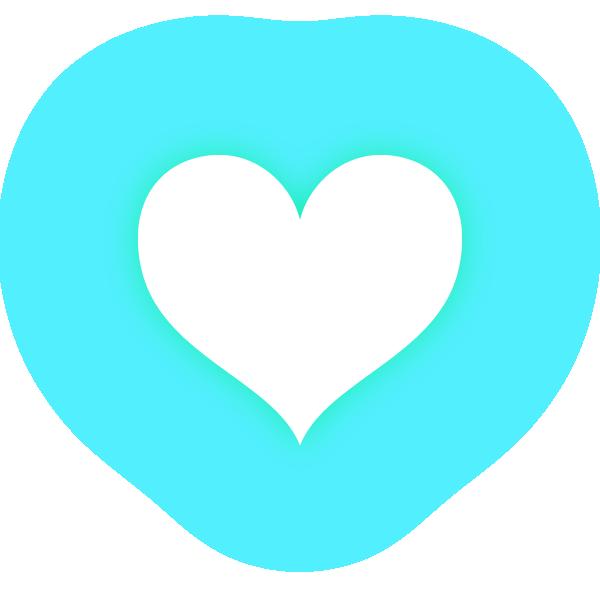 くびれのあるハート(発光パステルブルー(水色)) Constricted heart (neon luminous pastel blue (light blue))