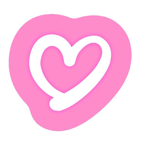 くっきりした線の手書きのハート(発光ピンク) Handwritten heart with clear lines (neon light emitting pink)