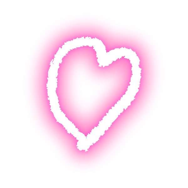 ゆるいラフな線の手書きのハート(発光ピンク) Hand-drawn heart with loose rough lines (neon light-emitting pink)