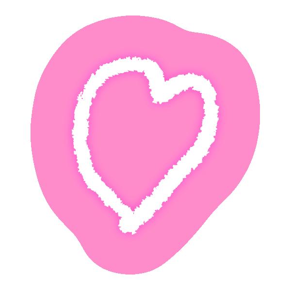 ゆるいラフな線の手書きのハート(発光ピンク) Hand-drawn heart with loose rough lines (neon light-emitting pink)
