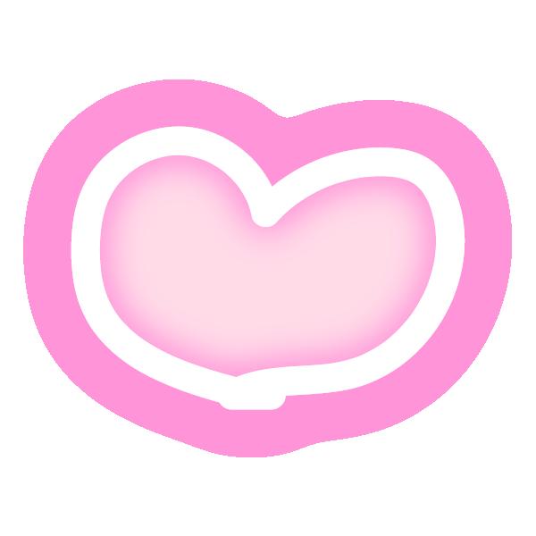 丸みのある手描き風ハート(発光ピンク) Rounded hand-drawn style heart (neon luminous pink)