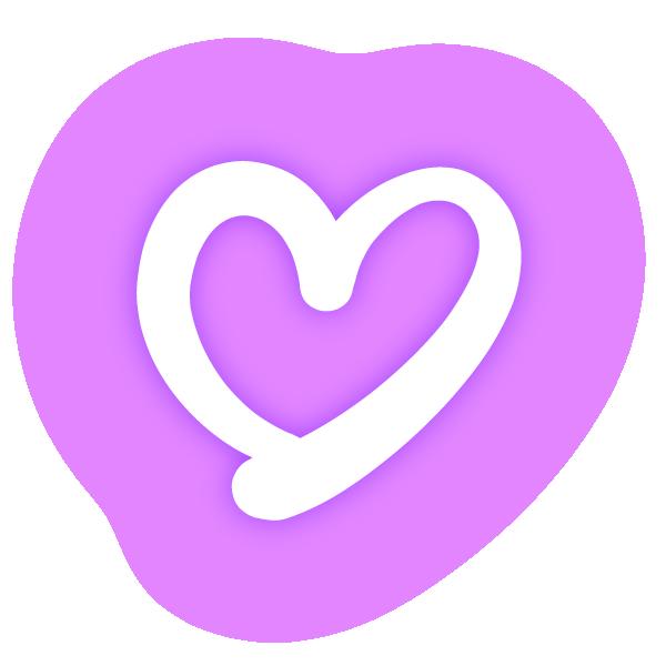 くっきりした線の手書きのハート(発光パステルパープル(紫)) Handwritten hearts with clear lines (neon luminescent pastel purple)