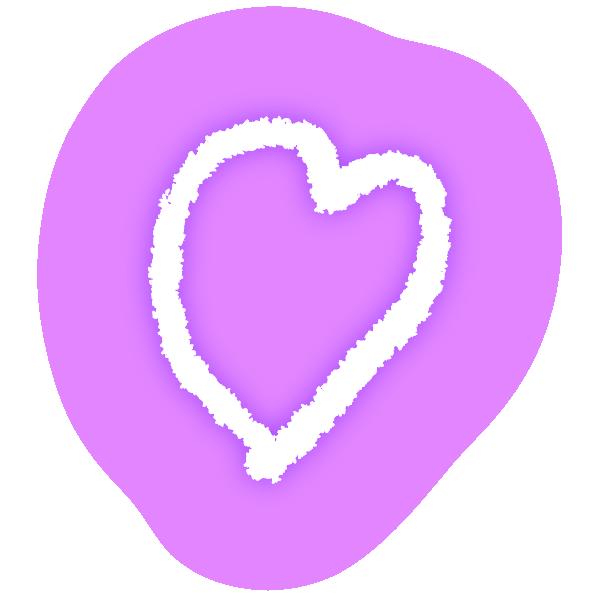 ゆるいラフな線の手書きのハート(発光パステルパープル(紫)) Loose rough line handwritten heart (neon light emitting pastel purple)