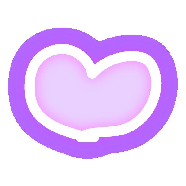 丸みのある手描き風なハート(発光パステルパープル(紫)) Hand-drawn rounded heart (neon luminous pastel purple)