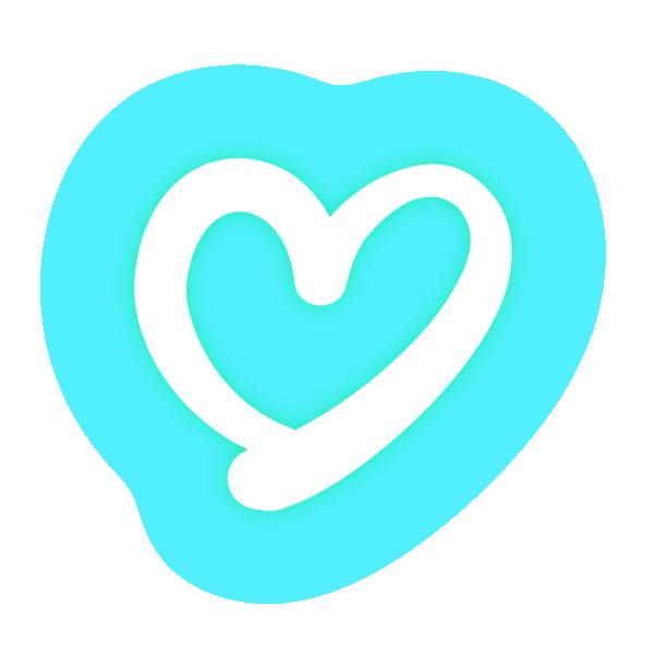 くっきりした線の手書きのハート(発光パステルブルー(水色)) Handwritten hearts with clear lines (neon luminescent pastel blue (light blue))