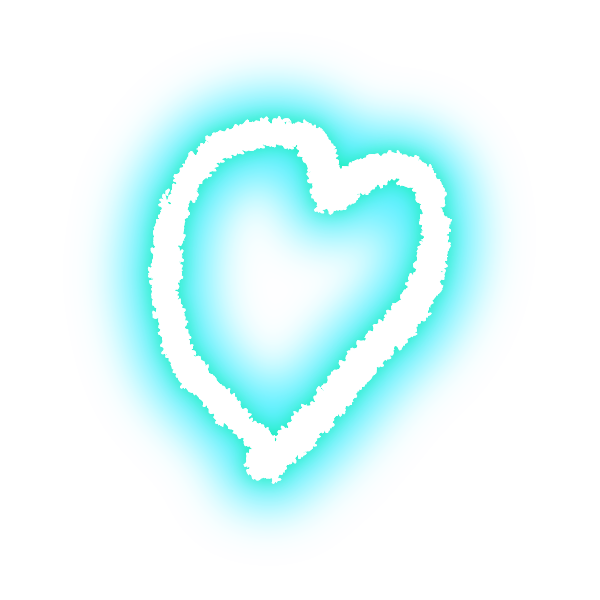 ゆるいラフな線の手書きのハート(発光パステルブルー(水色)) Hand-drawn heart with loose rough lines (neon light-emitting pastel blue (light blue))