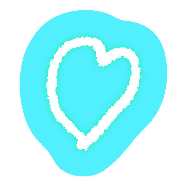 ゆるいラフな線の手書きのハート(発光パステルブルー(水色)) Hand-drawn heart with loose rough lines (neon light-emitting pastel blue (light blue))