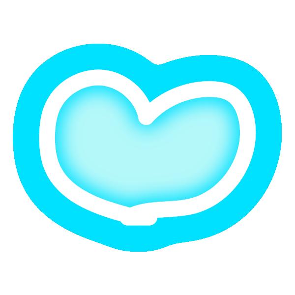 丸みのある手描き風なハート(発光パステルブルー(水色)) Hand-drawn rounded heart (neon luminous pastel blue (light blue))