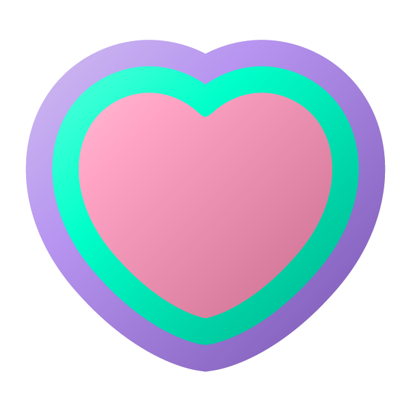 パステルカラーの縁取りのハート Pastel colored heart