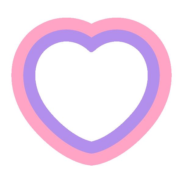 パステルカラーのハートの縁取り囲みライン Pastel colored heart border line