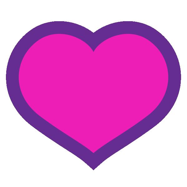 縁取りラインのあるビビッドピンクのハート Hot pink Heart symbol with a border line