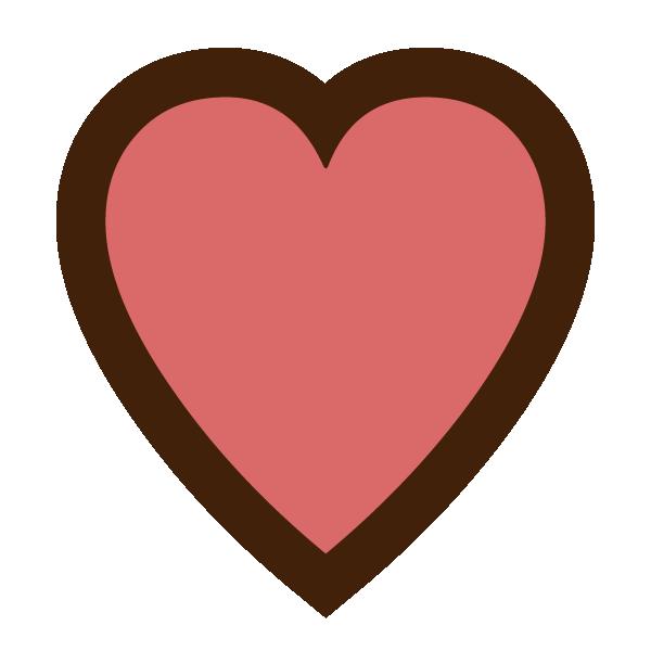 チョコレートカラーの縁取りラインのあるスモーキーピンクのハート Smoky pink heart with chocolate-colored border