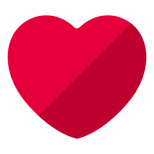 Red flat color heart (diagonal shading)