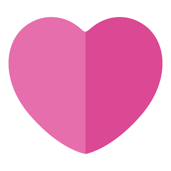 Pink flat color heart