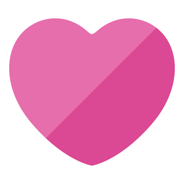 Pink flat color heart (diagonal shading)