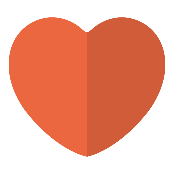 Orange flat color heart