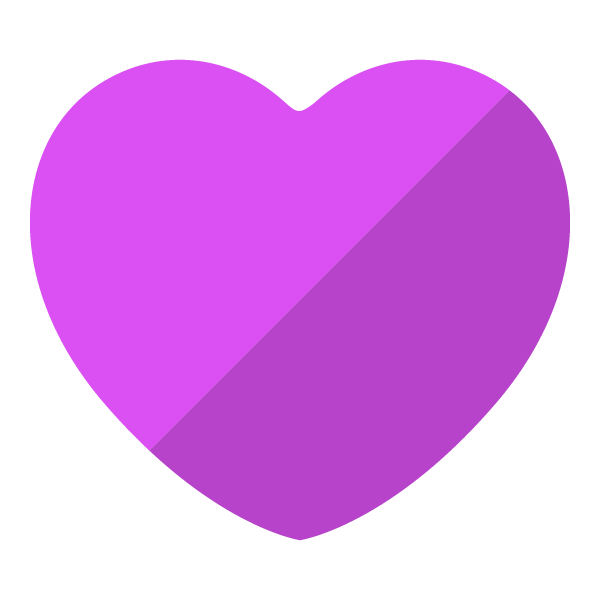 Purple flat color heart (diagonal shading)