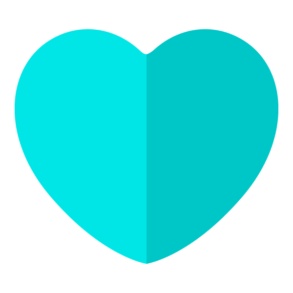 Light blue flat color heart