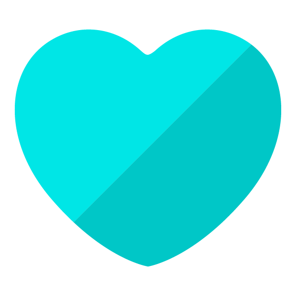 Light blue flat color heart (diagonal shading)