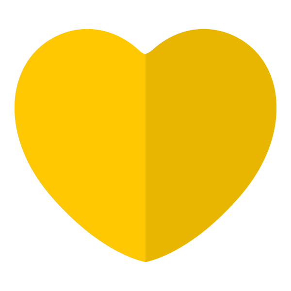 Yellow flat color heart