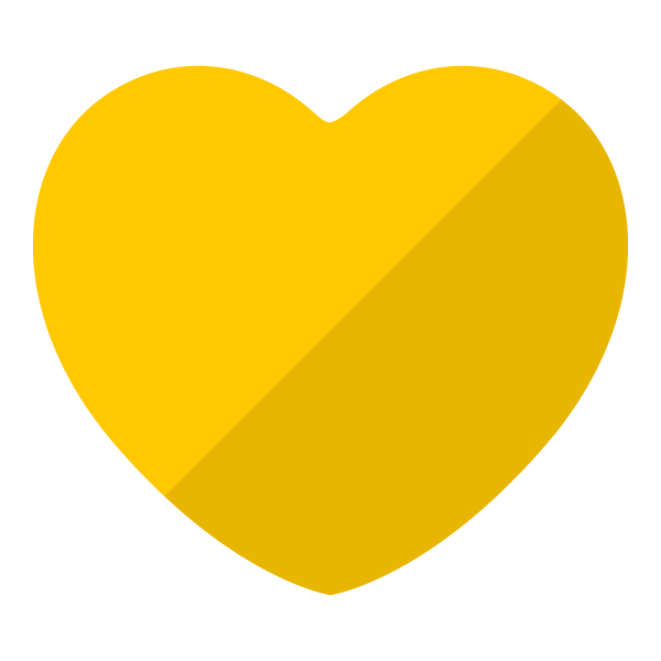 Yellow flat color heart (diagonal shading)