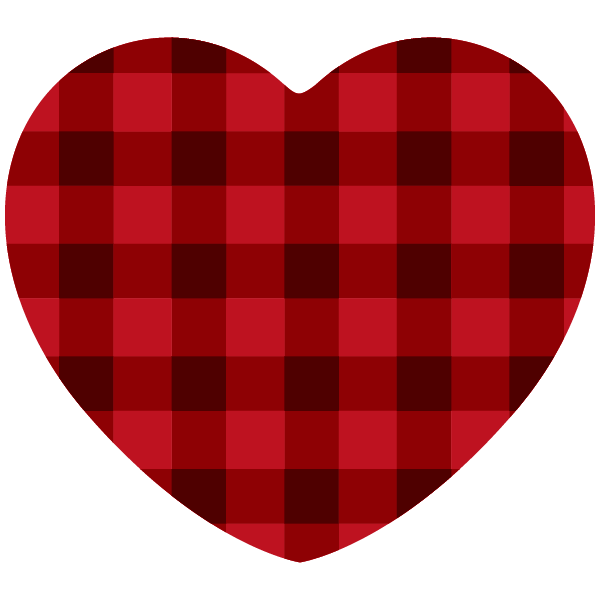 Red and black gingham heart