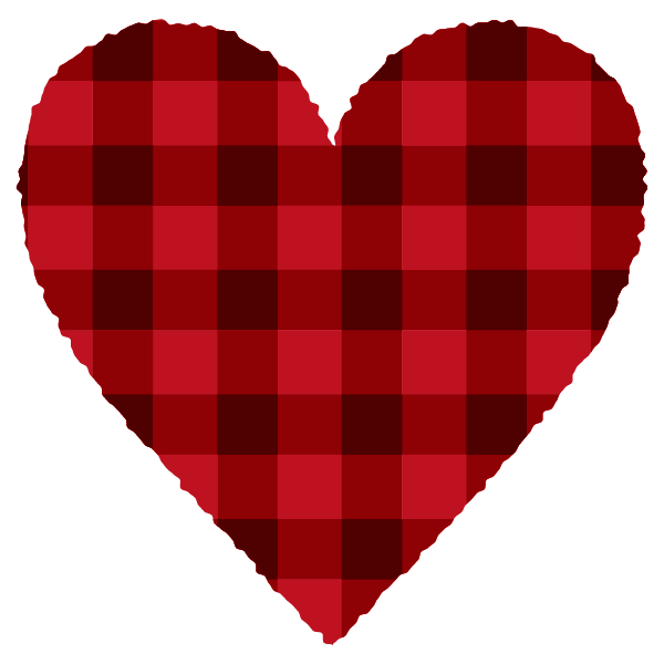 Red and black gingham heart 2