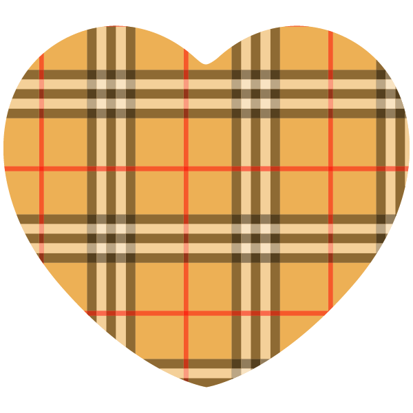 Beige brand-name style gingham check heart