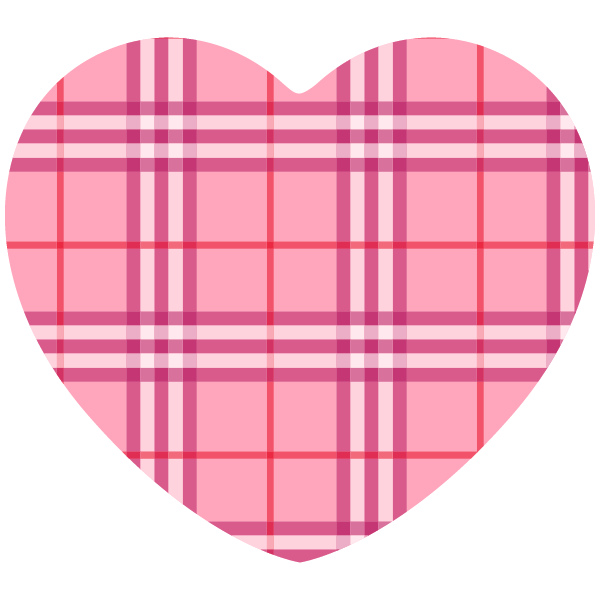 Pink brand-name style gingham check heart