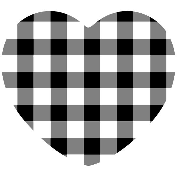 Black and white gingham heart