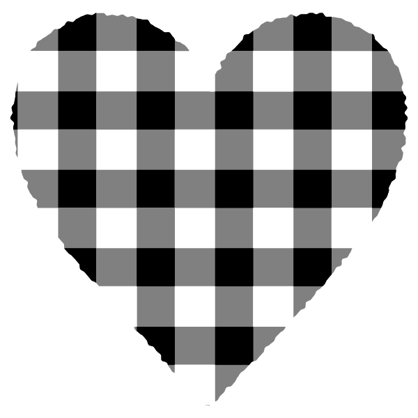 Black and white gingham heart 2