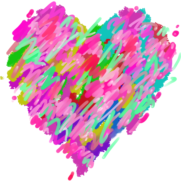 Colorful art paint style heart