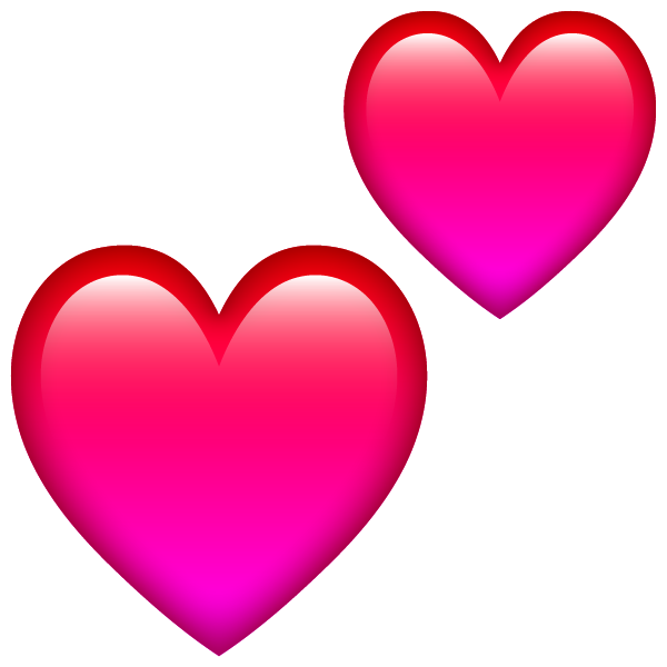 Two emoticon-style hearts free images