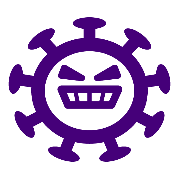 Simple line coronavirus(with face) icon