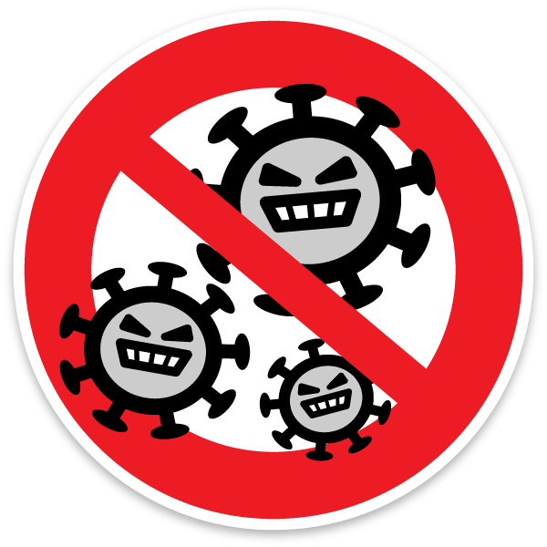 Character illustration icon of Corona virus closed road sign